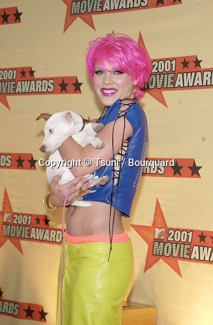 Singer Pink arrives at the 2001 MTV Movie Awards held at the Shrine Auditorium in Los Angeles, CA., Saturday, June 2, 2001.  (photo by © Tsuni)          -            Pink16.jpg