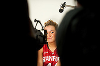 DENVER, CO--Joslyn Tinkle has fun with the cameras during media day at the Pepsi Center for the 2012 NCAA Women's Final Four in Denver, CO.