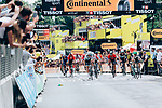 Peter Sagan (SVK) Bora-Hansgrohe and Mike Theunison (BEL) Team Jumbo-Visma lunge for the finish line of Stage 1 of the 2019 Tour de France running 194.5km from Brussels to Brussels, Belgium. 6th July 2019.<br /> Picture: ASO/Thomas Maheux | Cyclefile<br /> All photos usage must carry mandatory copyright credit (© Cyclefile | ASO/Thomas Maheux)