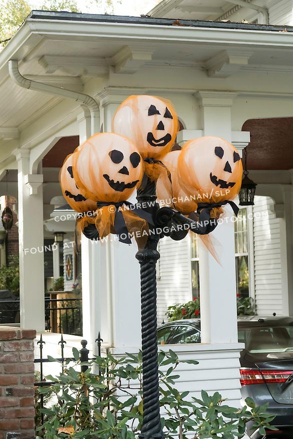 Whimsical Halloween decorations on a light post outside a Walla Walla home