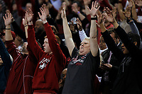 Arkansas Democrat-Gazette/THOMAS METTHE -- 12/16/2018 --<br /> Arkansas fans call the Hogs during the second half of the Razorbacks' 79-67 win on Saturday, Dec. 15, 2018, at Verizon Arena in North Little Rock.