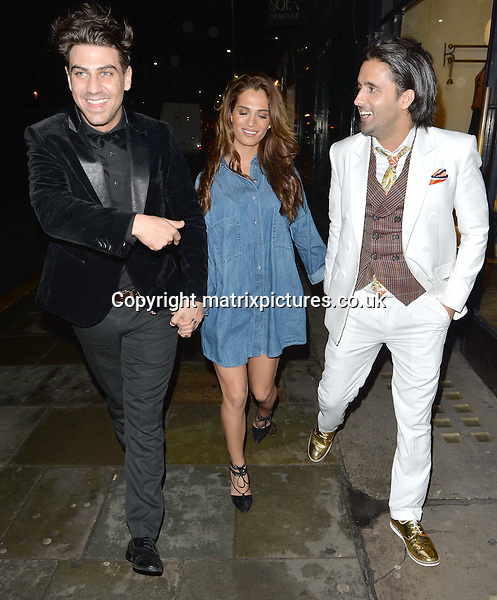NON EXCLUSIVE PICTURE: MATRIXPICTURES.CO.UK<br /> PLEASE CREDIT ALL USES<br /> <br /> WORLD RIGHTS <br /> <br /> TOWIE stars Chris Clark, Nicole Bass and Liam Blackwell are spotted during a night out at Raffles Chelsea, in London. <br />  <br /> MARCH 8th 2016<br /> <br /> REF: LTN 16647