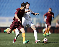 Calcio, Serie A: Roma, stadio Olimpico, 14 aprile 2017.<br /> Roma's Federico Fazio (l) in action with Atalanta's Andrea Petagna (r) during the Italian Serie A football match between Roma and Atalanta at Rome's Olympic stadium, April 14, 2017.<br /> UPDATE IMAGES PRESS/Isabella Bonotto