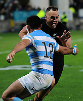 Israel Dagg charges for the tryline during the Rugby Championship match between the NZ All Blacks and Argentina Pumas at Yarrow Stadium in New Plymouth, New Zealand on Saturday, 9 September 2017. Photo: Dave Lintott / lintottphoto.co.nz
