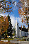 Saint Paul's church, Port Gamble Historic District, Kitsap Peninsula, Puget Sound, Washington State, Pacific Northwest, USA, 1800's small town architecture, autumn,
