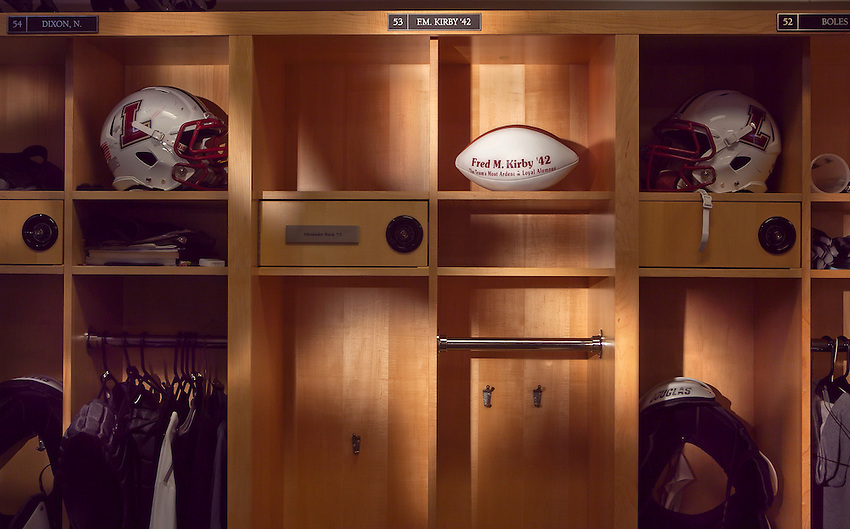 Empty F.M. Fred Kirby Locker in the Bourger Varsity Football House.chuck zovko  / Zovko Photographic llc.October 18, 2011.