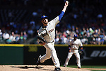 Seattle Mariners starting pitcher James Paxton throws agains the Texas Rangers at SAFECO Field in Seattle on April 10, 2015.  The Mariners came from behind to beat the Rangers 11-10.  Jim Bryant Photo. ©2015. All Rights Reserved.