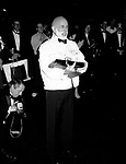 """Jerome Robbins attends the Broadway Opening Night Gypsy Robe Ceremony for """"Jerome Robbins Broadway"""" on February 26, 1989 at the Imperial Theatre in New York City."""