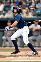 Second baseman Blake Tiberi (3) of the Columbia Fireflies bats in a game against the Greenville Drive on Saturday, May 26, 2018, at Spirit Communications Park in Columbia, South Carolina. Columbia won, 9-2. (Tom Priddy/Four Seam Images)