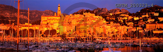 Tom Mackie, LANDSCAPES, panoramic, photos, Menton Harbour, Cote d' Azur, France, GBTM200323-4,#L#