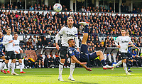 Leeds United's Kemar Roofe can't connect with an overhead kick<br /> <br /> Photographer Alex Dodd/CameraSport<br /> <br /> The EFL Sky Bet Championship Play-off  First Leg - Derby County v Leeds United - Thursday 9th May 2019 - Pride Park - Derby<br /> <br /> World Copyright © 2019 CameraSport. All rights reserved. 43 Linden Ave. Countesthorpe. Leicester. England. LE8 5PG - Tel: +44 (0) 116 277 4147 - admin@camerasport.com - www.camerasport.com