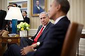 "Prime Minister Benjamin Netanyahu of Israel, left, looks on as United States President Barack Obama speaks in the Oval Office of the White House in Washington, D.C., U.S., on Monday, March 3, 2014. Obama urged Netanyahu to ""seize the moment""  to make peace, saying time is running out to negotiate an Israeli-Palestinian agreement. <br /> Credit: Andrew Harrer / Pool via CNP"