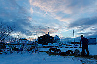 Mats Petterrson feeds his dogs at sunrise at the Kaltag checkpoint on Sunday March 10th during the 2019 Iditarod Trail Sled Dog Race.<br /> <br /> Photo by Jeff Schultz/  (C) 2019  ALL RIGHTS RESERVED