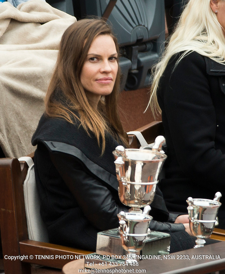 HILARY SWANK, ACTRESS<br /> <br /> TENNIS - FRENCH OPEN - ROLAND GARROS - ATP - WTA - ITF - GRAND SLAM - CHAMPIONSHIPS - PARIS - FRANCE - 2016  <br /> <br /> <br /> <br /> &copy; TENNIS PHOTO NETWORK