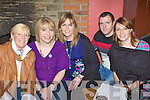 Exercising their brain muscles at the World Bodhran championship fundraising quiz in Cosgrave's bar Milltown on Friday was l-r: Jill King, Katie Clarke, Claire Cosgrove, Mike O'Donoghue and Breda Cosgrove.