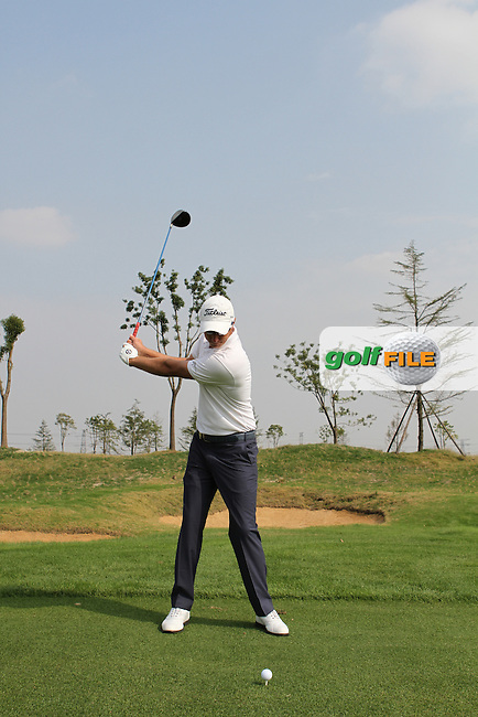 Nicolas Colsaerts (BEL) Swing Sequence on the range ahead of the BMW Masters 2012 at Lake Malaren Golf Club, Shanghai, China, Tuesday 24/10/12...(Photo Jenny Matthews/www.golffile.ie)