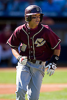 Matt Hamlet #6 of the Boston College Eagles hustles down the first base line versus the Florida State Seminoles at Durham Bulls Athletic Park May 20, 2009 in Durham, North Carolina. (Photo by Brian Westerholt / Four Seam Images)
