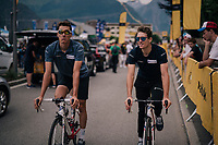 Ramon Sinkeldam (NED/Groupama-FDJ) &amp; Arnaud D&eacute;mare (FRA/Groupama-FDJ) arriving at the race start straight from their hotel by bike<br /> <br /> Stage 13: Bourg d'Oisans &gt; Valence (169km)<br /> <br /> 105th Tour de France 2018<br /> &copy;kramon