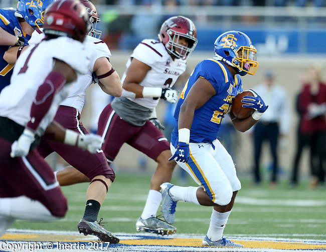 BROOKINGS, SD - OCTOBER 7: Mikey Daniel #26 from South Dakota State University breaks loose past the defense from Southern Illinois in the first half of their game Saturday night at Dana J. Dykhouse Stadium in Brookings. (Photo by Dave Eggen/Inertia)