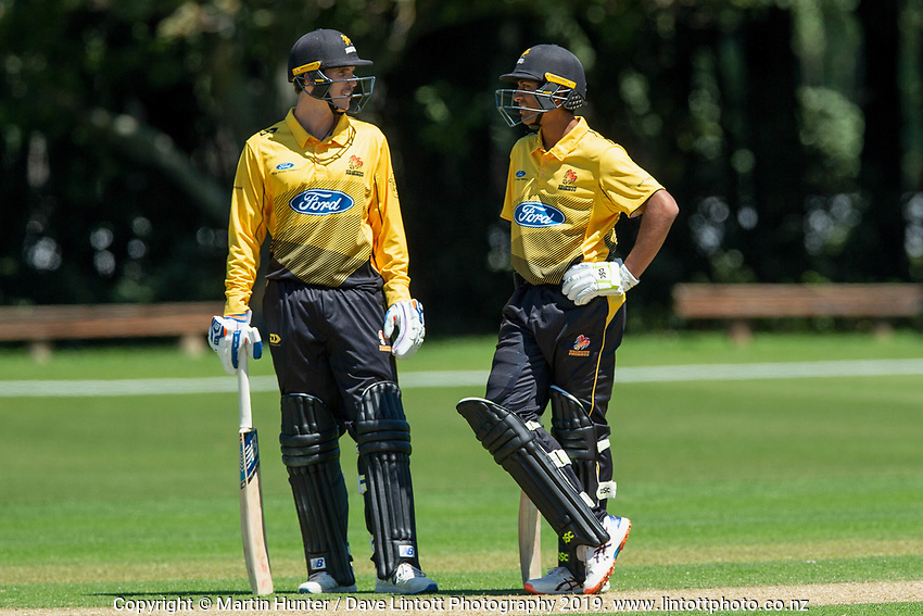 Rachin Ravindraand Andrew Fletcher of Wellington. Wellington Firebirds v Auckland Aces Ford Trophy One Day Match Round Three at Lincoln No.3 in Lincoln, New Zealand on Monday, 25 November 2019. Photo: Martin Hunter / lintottphoto.co.nz