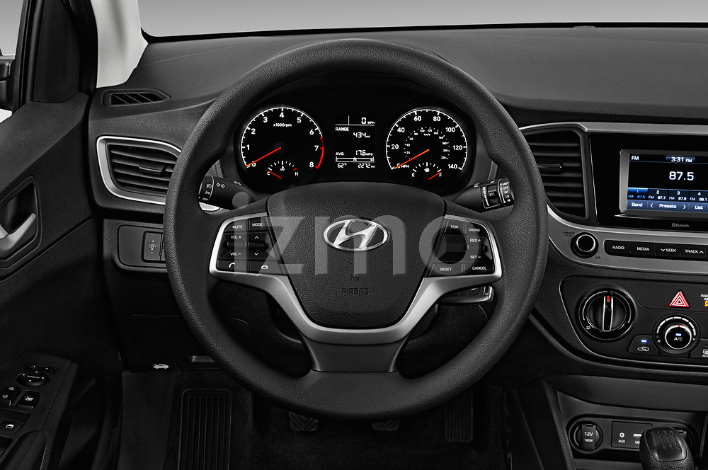 Car pictures of steering wheel view of a 2018 Hyundai Accent SE 4 Door Sedan