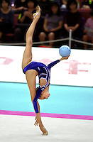 03 OCTOBER 1999 - OSAKA, JAPAN:  Olga Belova of Russia performs with ball in Event Finals at the 1999 World Championships in Osaka, Japan.