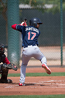 Cleveland Indians third baseman Wilbis Santiago (17) at bat during an Extended Spring Training game against the Arizona Diamondbacks at the Cleveland Indians Training Complex on May 27, 2018 in Goodyear, Arizona. (Zachary Lucy/Four Seam Images)