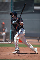 San Francisco Giants Black catcher Trevor Brown (40) follows through on his swing during an Extended Spring Training game against the Los Angeles Angels at the San Francisco Giants Training Complex on May 25, 2018 in Scottsdale, Arizona. (Zachary Lucy/Four Seam Images)