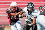 Lawndale, CA 09/26/13 - Dawan Ballard (Lawndale #23) and Alex Rosemond (Peninsula #11) in action during the Peninsula vs Lawndale Junior Varsity football game at Lawndale High School.