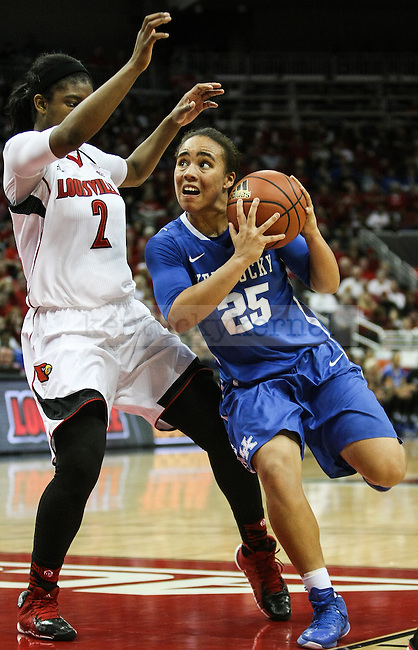 Kentucky guard Makayla Epps runs towards the net during the first half of the Kentucky vs. Louisville women's basketball game at the KFC Yum! Center on Sunday, December 7, 2014 in Lexington, Ky. Louisville leads Kentucky 42-29 at halftime. Photo by Adam Pennavaria | Staff