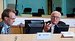 Brussels - Belgium, June 05, 2012; .'Concepts for a European Industrial Renewal' - a conference held by FES (Friedrich-Ebert-Stiftung) and hosted by the CoR Committee of the Regions; with i.a. Frank-Walter STEINMEIER (ri), Chairman of the SPD parliamentary Group at the German Parliament, Deutscher Bundestag; Karl-Heinz LAMBERTZ, Minister-President of the German-speaking Community of Belgium and President of the PES Group in the CoR; Peter EHRLICH (le), FTD-Correspondent; Andrae GAERBER, Director of FES-EU-Office; .Photo: © HorstWagner.eu