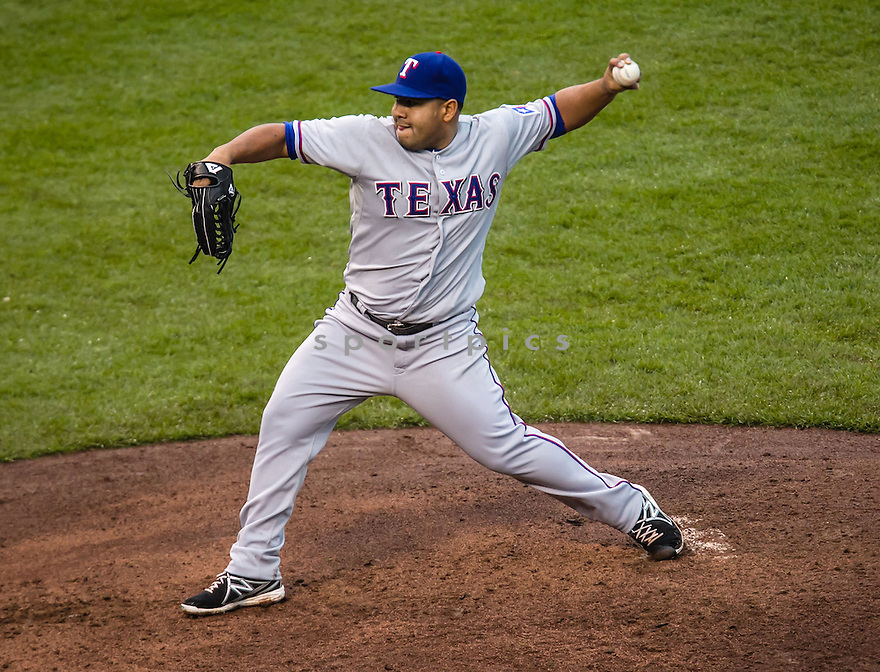 Texas Rangers Joseph Ortiz (58) during a game against the Chicago Cubs on April 18, 2013 at Wrigley Field in Chicago, IL. The Cubs beat the Rangers 6-2.