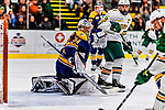 26 January 2019: Merrimack College Warrior Goaltender Logan Halladay, a Sophomore from Cary, NC, in second period action against the University of Vermont Catamounts at Gutterson Fieldhouse in Burlington, Vermont. The Warriors fell to the Catamounts 4-3 in overtime after tying up the game in the dyeing seconds of the third period of their America East conference game. Mandatory Credit: Ed Wolfstein Photo *** RAW (NEF) Image File Available ***