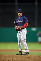 Lowell Spinners relief pitcher Kris Jackson (24) gets ready to deliver a pitch during a game against the Batavia Muckdogs on July 16, 2018 at Dwyer Stadium in Batavia, New York.  Lowell defeated Batavia 4-3.  (Mike Janes/Four Seam Images)