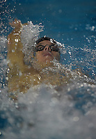 Feb 22, 2015; Whittier, CA, USA; David Avery of Occidental College competes in the 200-yard backstroke at the SCIAC swimming championships at Whittier College. Photo by Kirby Lee