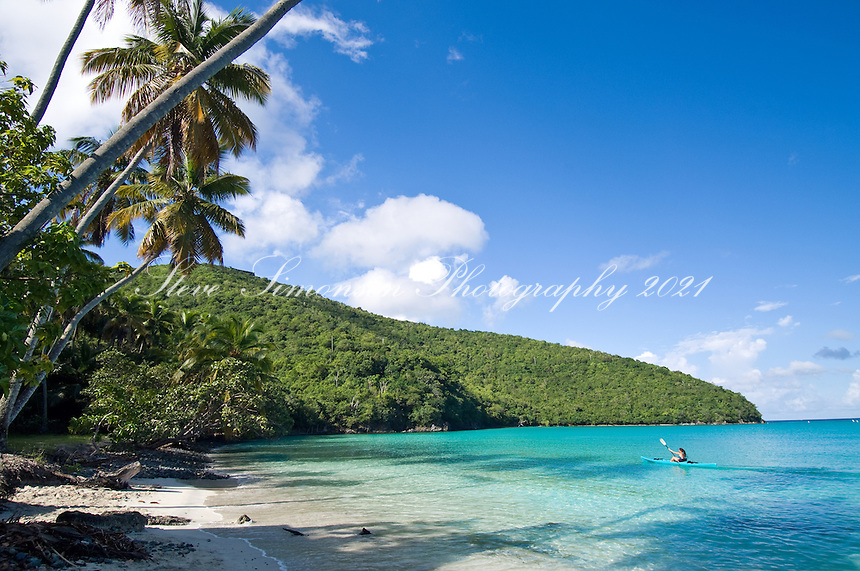 Kayaker at Maho Bay<br /> Virgin Islands National Park<br /> St. John, U.S. Virgin Islands