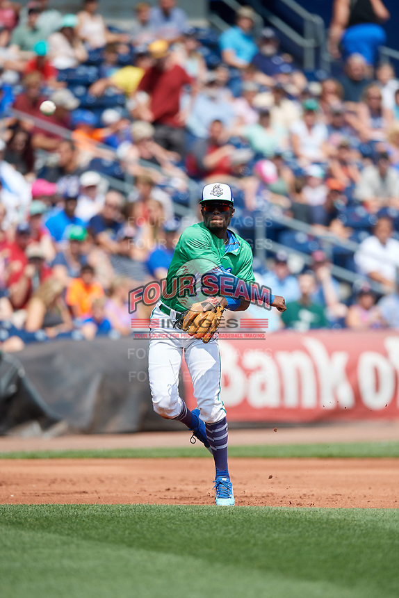 Hartford Yard Goats third baseman Mylz Jones (30) throws to first base during a game against the Trenton Thunder on August 26, 2018 at Dunkin' Donuts Park in Hartford, Connecticut.  Trenton defeated Hartford 8-3.  (Mike Janes/Four Seam Images)