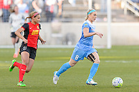 Bridgeview, IL, USA - Saturday, April 23, 2016: Western New York Flash forward Lynn Williams (9) and Chicago Red Stars midfielder Julie Johnston (8) during a regular season National Women's Soccer League match between the Chicago Red Stars and the Western New York Flash at Toyota Park. Chicago won 1-0.