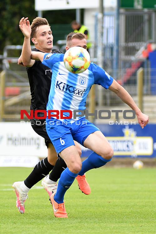 28.06.2020, Hänsch-Arena, Meppen, GER, 3.FBL, SV Meppen vs. FC Ingolstadt 04 <br /> <br /> im Bild<br /> Dennis Eckert (FC Ingolstadt 04, 7) und Marco Komenda (SV Meppen, 6) im Zweikampf, Duell, Laufduell.<br /> <br /> <br /> DFL REGULATIONS PROHIBIT ANY USE OF PHOTOGRAPHS AS IMAGE SEQUENCES AND/OR QUASI-VIDEO<br /> <br /> Foto © nordphoto / Paetzel