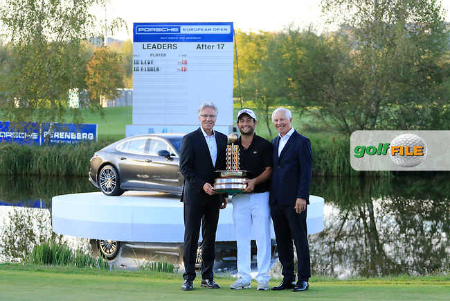 Alexander Levy (FRA) poses with the trophy after the final round of the Porsche European Open, Golf Resort Bad Griesbach, Bad Griesbach, Germany. 25/09/2016<br /> Picture: Golffile | Phil Inglis<br /> <br /> <br /> All photo usage must carry mandatory copyright credit (&copy; Golffile | Phil Inglis)