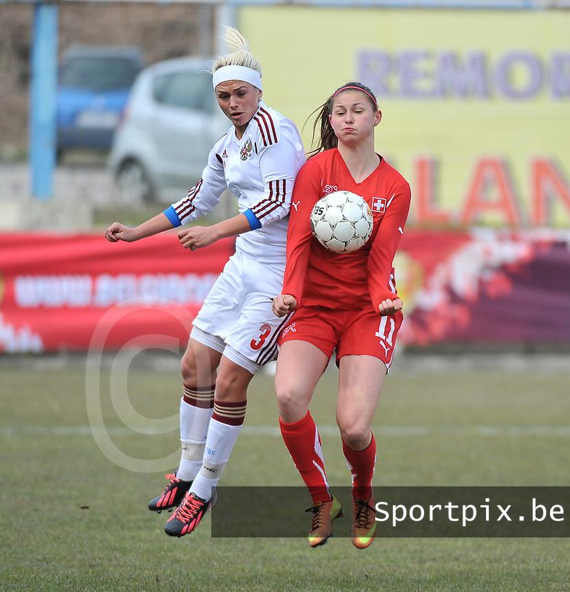 Switzerland U19 - Russia U19 : duel tussen Barla Deplazes (rechts) en Ksenia Kovalenko.foto DAVID CATRY / Nikonpro.be