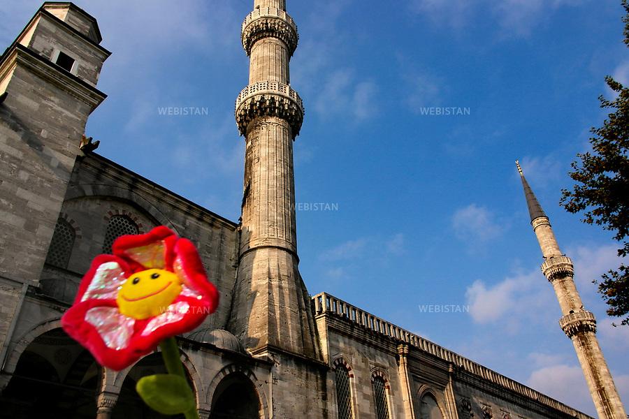 Turkey, Istanbul, Sultanahmet District, Sultanahmet Blue Mosque, October 5, 2012A tourist holds up a velvet flower against the facade of the Sultanahmet Blue Mosque.The Sultanahmet Blue Mosque was constructed from 1609-1616 during the rule of Ahmed I. It does not only serve as a mosque, but also as a hospice center, a &quot;madrasa&quot; (religious school), and a tomb for the founder. Today it is a prominent tourist attraction and is known for its beautiful blue mosaics and Ottoman-Byzantine style architecture. <br /> Turquie, Istanbul, District de Sultanahmet, Mosquee Bleue de Sultanahmet, 5 octobre 2012Un touriste tient haut une fleur de velours contre la facade de la Mosquee bleue de Sultanahmet.La Mosquee bleue de Sultanahmet a ete construite a partir de 1609-1616 sous le regne de Ahmed I. Elle a egalement servi de centre de soins palliatifs, de &quot;madrasa&quot; (ecole religieuse), et de tombeau pour le fondateur. Aujourd'hui, c'est une attraction touristique de premier plan  connue pour ses belles mosaiques bleues et son architecture de style ottoman-byzantin.