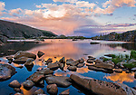 sunset, color, sky, reflection, Lake Husted, clouds, thunderheads, sky, summer, granite, water, lake, high elevation, shadows, August, evening, Rocky Mountain National Park, Colorado, USA