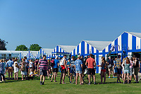 """Henley on Thames, United Kingdom, 29th June 2018, Friday, """"Henley Royal Regatta"""", Qualifying races, [Time Trails] over the, Regatta Course, Crews and Supporters',  Gather outside the Boat Tent, Henley Reach, River Thames, Thames Valley, England, © Peter SPURRIER, 29/06/2018"""