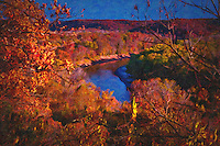 Fall foliage colors in Castlewood State Park in St. Louis, Missouri.