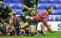 20/01/02 - Powergen  Cup - Quarter Final<br /> Madejski Stadium - Reading <br /> London Irish v Gloucester:<br /> Andy Gomersall is caught by James Cockle.[Mandatory Credit:Peter SPURRIER/Intersport Images]