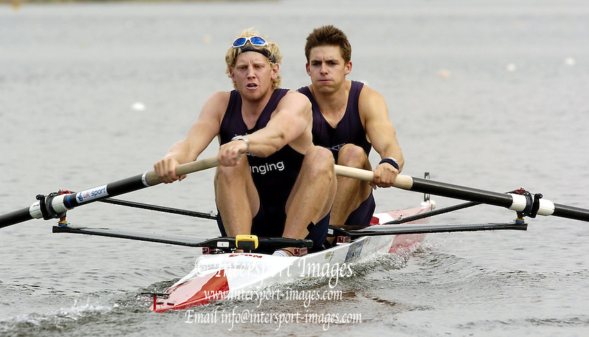2005 GB Rowing Senior Trails, Hazenwinkel, BELGIUM;  .Andy Hodge [left] and Peter Reed, two members of this years winning Oxford boat race crew move away from the start in their semi final, on the first day of the GB rowing senior trials...Photo  Peter Spurrier. .email images@intersport-images... GB Senior Rowing Trails, Rowing Course, Bloso, Hazewinkel. BELGUIM