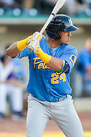 Jorge Alfaro (24) of the Myrtle Beach Pelicans at bat against the Winston-Salem Dash at BB&T Ballpark on July 16, 2014 in Winston-Salem, North Carolina.  The Pelicans defeated the Dash 6-2.   (Brian Westerholt/Four Seam Images)