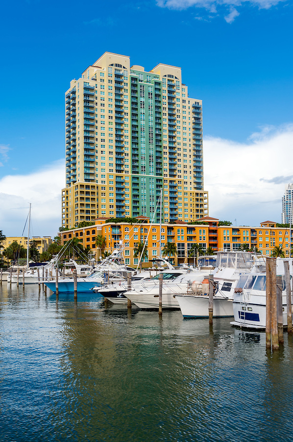 View of luxurious boats and yacht docked in a Miami Beach Marina