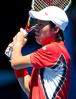 KEI NISHIKORI (JPN ) against JO-WILFRED TSONGA (FRA) in the fourth round of the Men's Singles. Kei Nishikori  beat Jo-Wilfred Tsonga 2-6 6-2 6-1 3-6 6-3..23/01/2012, 23rd January 2012, 23.01.2012 - Day 8..The Australian Open, Melbourne Park, Melbourne,Victoria, Australia.@AMN IMAGES, Frey, Advantage Media Network, 30, Cleveland Street, London, W1T 4JD .Tel - +44 208 947 0100..email - mfrey@advantagemedianet.com..www.amnimages.photoshelter.com.